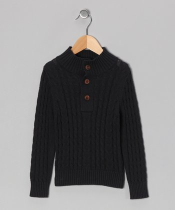 French Navy Organic Cable-Knit Sweater - Toddler & Boys