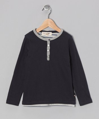 French Navy & Gray Layered Shirt - Toddler & Boys