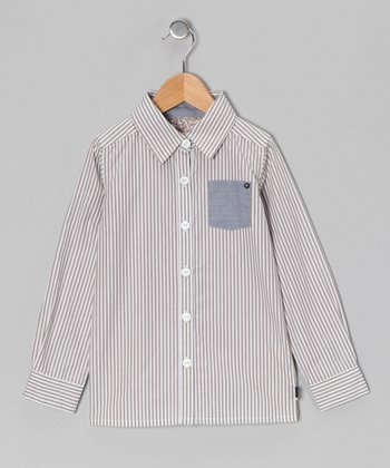 Taupe & White Stripe Button-Up - Toddler & Boys