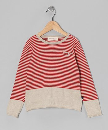 Red & Oat Mélange Stripe Pippa Top - Toddler & Girls