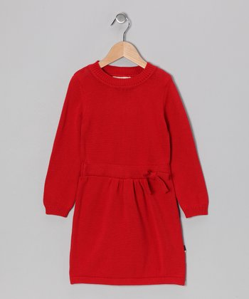 Red Bow Organic Dress - Toddler & Girls