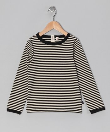 Black & White Stripe Kitty Top - Toddler & Girls