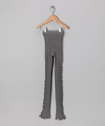 Charcoal Frilly Me Leggings - Girls