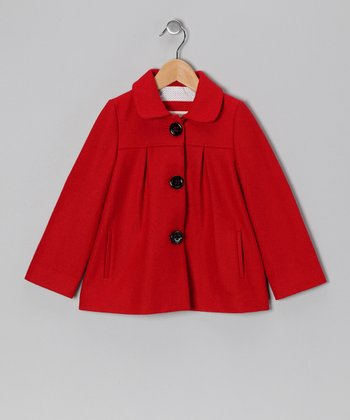 Red Amelie Wool-Blend Jacket - Girls