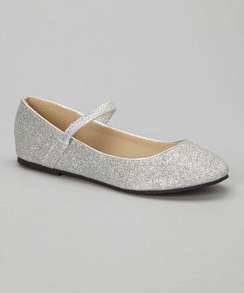 Silver Glitter Ridley Flat
