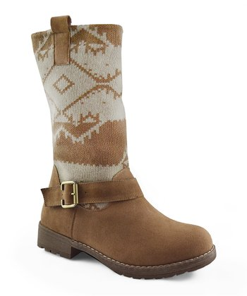 Tan & Cream Rachel Buckle Boot - Women