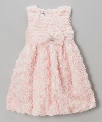 Dusty Rose Pearls Plush Dress - Girls