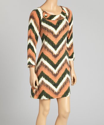 Olive & White Zigzag Button Dress