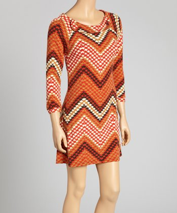 Rust & White Houndstooth Zigzag Button Dress