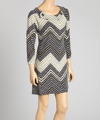 Gray & White Houndstooth Zigzag Button Dress