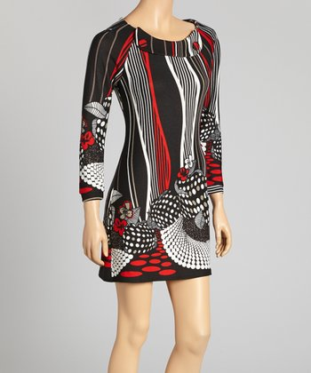 Black & Red Abstract Floral Button Dress