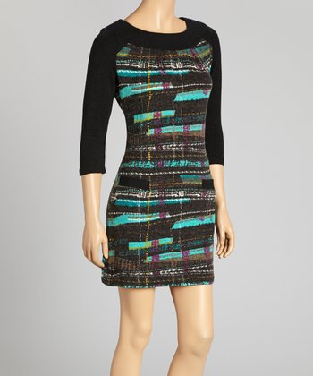Teal & Black Abstract Scoop Neck Dress
