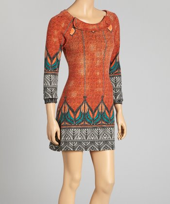 Orange & Black Abstract Button Dress