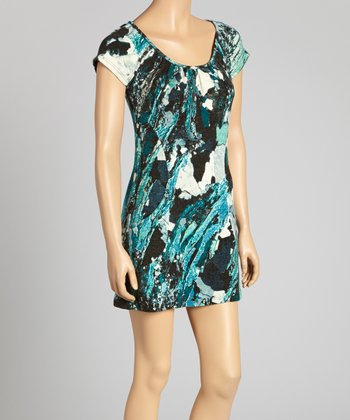 Teal & Black Abstract Cap-Sleeve Dress