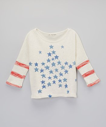 Oatmeal & Blue Star Tee - Girls