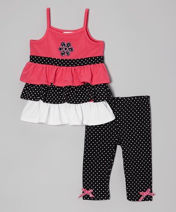 Pink Ruffle Flower Tunic & Polka Dot Leggings - Toddler & Girls