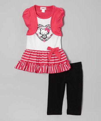 Pink Stripe Cat Layered Tunic & Leggings - Toddler & Girls
