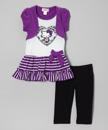 Purple Stripe Cat Layered Tunic & Leggings - Toddler & Girls