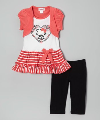 Coral Stripe Cat Layered Tunic & Leggings - Toddler & Girls