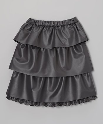 Gray Faux Leather Tiered Skirt - Toddler & Girls