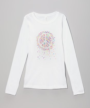 White Neon Rhinestone Peace Tee - Toddler & Girls