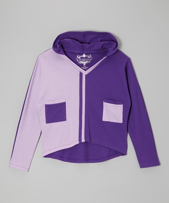 Purple & Royal Color Block Hoodie - Girls