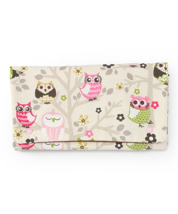 Pink & Green Creamy Owls Diaper Clutch