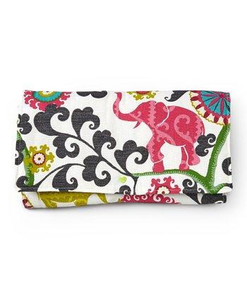 Brownie Gifts White & Pink Elegant Elephant Diaper Clutch