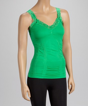 Green Lace-Trim Ruched Camisole - Women