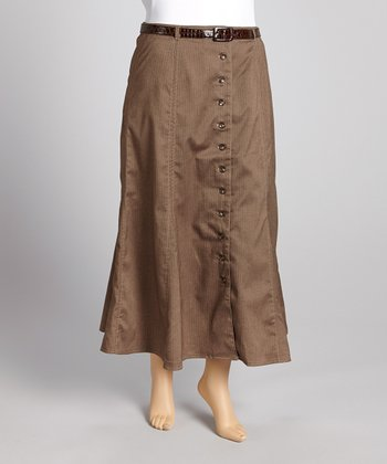 Brown Herringbone Belted Skirt - Plus