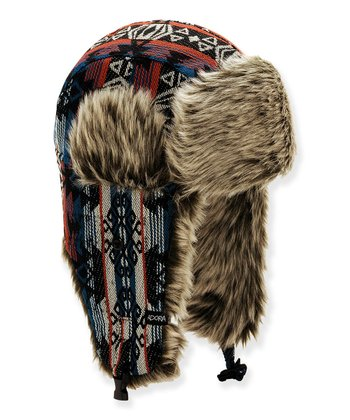 Blue Tribal Faux Fur Trapper Hat