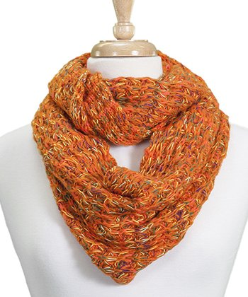 Orange Popcorn-Stitch Infinity Scarf