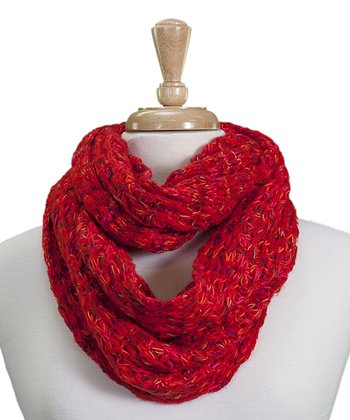 Red Popcorn-Stitch Infinity Scarf