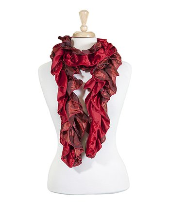 Red & Rust Ruffle Scarf