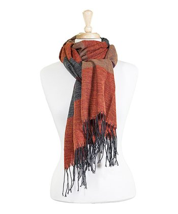 Rust & Tan Stripe Fringe Scarf