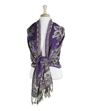 Purple & Tan Fringe Scarf