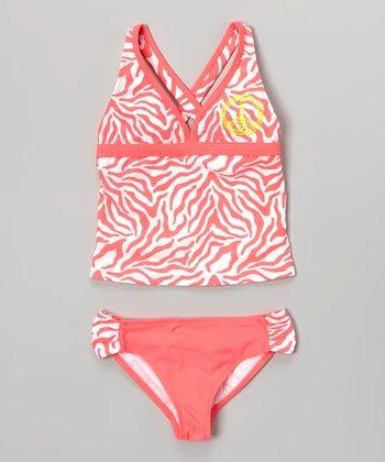 Angel Beach Hot Pink Zebra Tankini - Girls