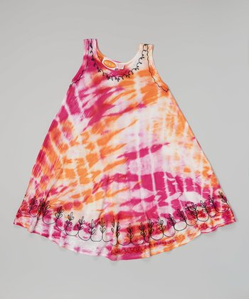 Raya Sun Fuchsia & Orange Embroidered Tie-Dye Dress - Toddler & Girls