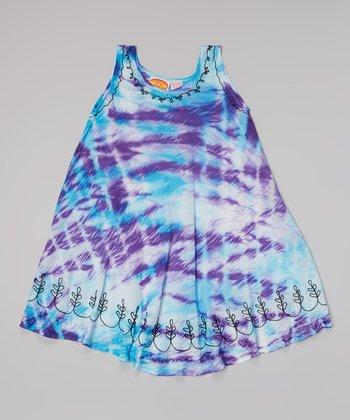 Raya Sun Purple & Turquoise Embroidered Tie-Dye Dress - Toddler & Girls