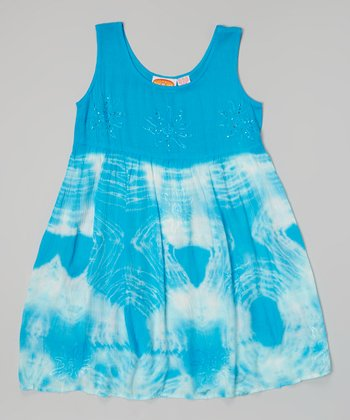 Raya Sun Turquoise Tie-Dye Ruffle Trim Dress - Girls