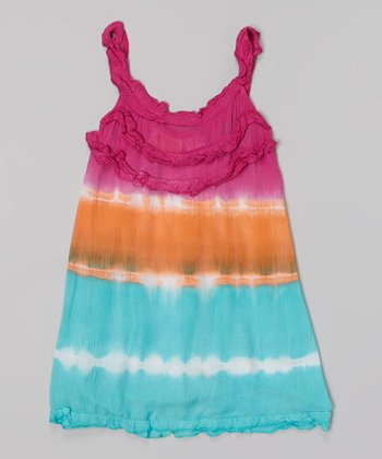 Raya Sun Fuchsia & Coral Tie-Dye Ruffle Tank Dress - Toddler