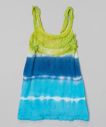 Raya Sun Lime & Royal Tie-Dye Ruffle Tank Dress - Toddler