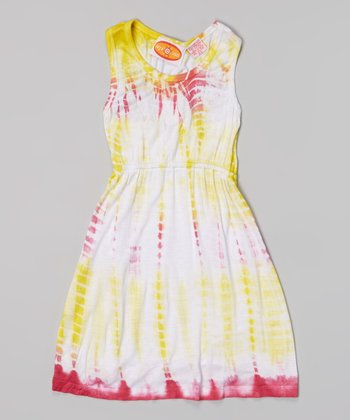 Raya Sun Fuchsia & Yellow Tie-Dye Racerback Dress
