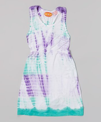 Raya Sun Seafoam & Purple Tie-Dye Racerback Dress
