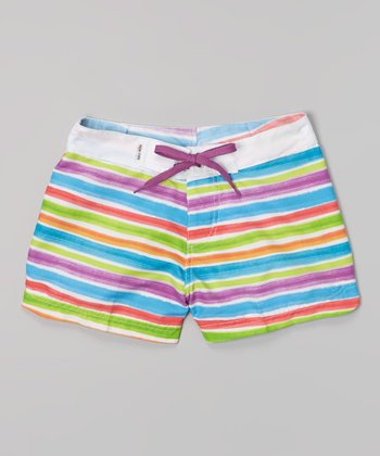 Raya Sun White & Purple Stripe Surf Shorts - Girls