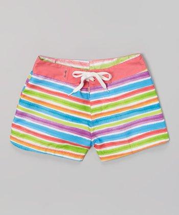 Raya Sun Pink & White Stripe Surf Shorts - Girls