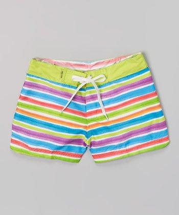 Raya Sun Lime Green & White Surf Shorts - Girls