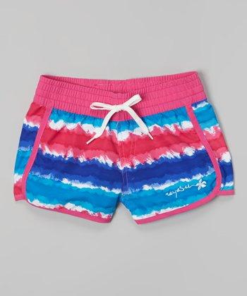 Raya Sun Fuchsia & Royal Tie-Dye Surf Shorts - Girls