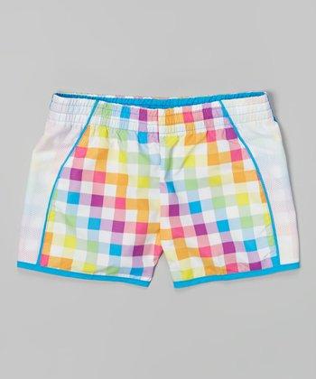 Raya Sun White & Turquoise Plaid Taffeta Running Shorts - Girls