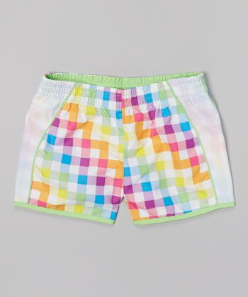 Raya Sun White & Lime Plaid Taffeta Running Shorts - Girls